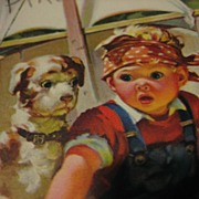 SALE Vintage Hankie Holder Card with Adorable Toddler and Pup in Tub