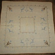 REDUCED Victorian Needlework Tablecloth with Handsome Stags and Flowers