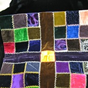 SALE Early Fancy Stitched Velvet Pillow Top Crazy Quilt Type Stitching