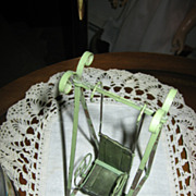 REDUCED Miniature Green Metal Doll Swing with Ornate Details