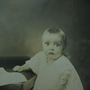 SALE Who Me? Adorable Victorian Era Baby Photo Gonna Cry?? RPPC