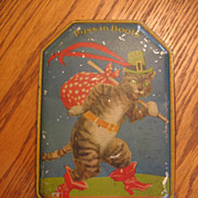 SALE Vintage Puss in Boots Toffee Tin England Blue Bird Toffee Tin