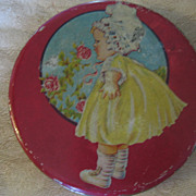 REDUCED Vintage Tin Adorable Early 1900s Baby Girl Smelling the Roses