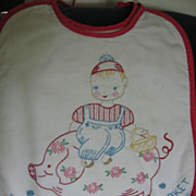 SALE 3 Wonderful Embroidered Bibs Tell Story of Pigs Going To Market