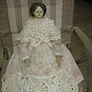REDUCED Greiner Head Paper Mache Head Doll Circa 1850s