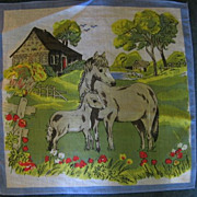 SALE Childs Vintage Hankie with Horse and Pony Farm Scene