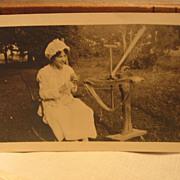 SALE Unusual Photo Early 1900s  Lady Winding Yarn