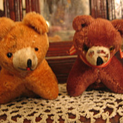 REDUCED Pair of Old Sewing Bears Bear Pincushion & Bear Tape Measure