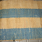 SALE Great Old Woven Blue and Tan Rug for Dollhouse or German Room box