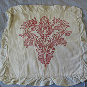 SALE Victorian Redwork Pillow Cover Turkey Red Pillowcase