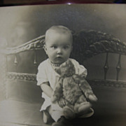 SALE Unused Real Photo Postcard Baby with Early Teddy Bear