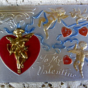 SALE Early 1900s Novelty Valentine Postcard with Goldtone Metal Cupid