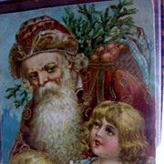 REDUCED Antique PC Santa Claus in Rust Colored Robe Victorian Postcard