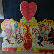 SALE Large New Old Stock Carousel Vintage Valentine Kids Ponies Honeycomb