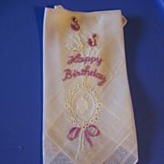 SALE Happy Birthday Hankie Lovely Vintage Lavender Embroidered Hanky