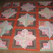 Vintage Handstitched Log Cabin Quilt Top in Rich Colors