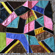 SALE Lovely Victorian Crazy Quilt Square Velvet and Silk Beauty