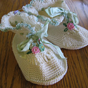 SALE Adorable Vintage Crocheted Baby Booties with Flowers