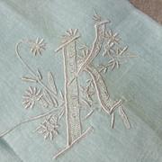 SALE Lovely Ladies Pastel Green Initial K Hankie Hanky
