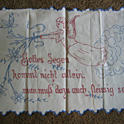 SALE Antique Redwork and Blue Stitching Angel Pillow Cover or Linen