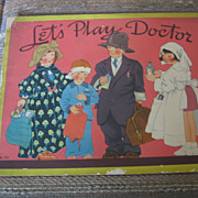 SALE Lets Play Doctor Uncut Paper Doll Paper Toy Booklet 1938 Saalfield
