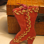 SOLD Antique Victorian Era Fancy Shoe Boot Sewing Craft Pin Cushion