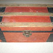 SALE Vintage Paper Lithographed  Wooden Doll Trunk