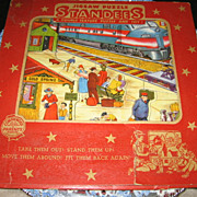 SALE Train Station Toy 1950s Vintage Standee Stand Up Puzzle