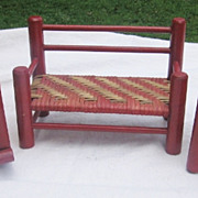 REDUCED 3 Pieces Red Painted & Basket Weave Doll Furniture