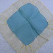SALE 3 Vintage Lovely Pastel Silk & Lace Net Hankies