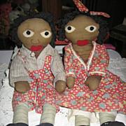 REDUCED Little Black Sambo & Miranda Rag Dolls Precious 1940s Era Handmade!!