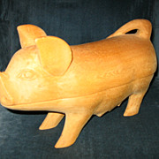 SALE Vintage Folk Art Carved Wooden Pig with Piglet in Belly
