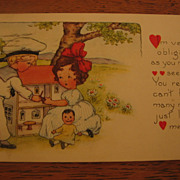 SALE Dollhouse Featured on Old Valentine Postcard