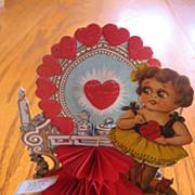 SALE Vintage Big Eyed Girl Honeycomb Valentine Card Girl & Vanity