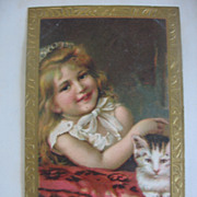 REDUCED Victorian Postcard Girl with Kitty Cat Just Stunning