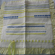 REDUCED Sampler Pillow Cover in Mellow Yellow Stitching