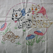 Wonderful Embroidered and Painted Pups Pillow Top Vogart?