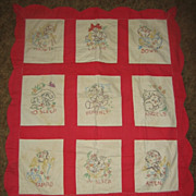 Angels  Prayer 1940s Baby Crib Quilt with Animals & Angels