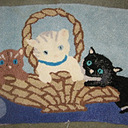 Kittens in Basket Vintage Hand Hooked Rug Adorable!