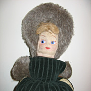 REDUCED Vintage Childs Cloth Mask Faced Doll Muff