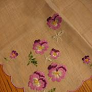 For Mom Vintage Lavender Pansy Hankie