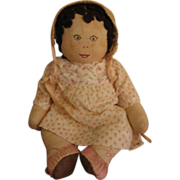 1920s Cloth Dolly with Embroidered Face & Shoes!!