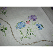 Lovely Linen Embroidered Floral Tablecloth