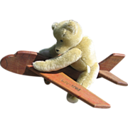 Vintage Wood Airplane Ride Toy for Bear or Dolls
