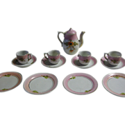 Vintage Childs and Doll Tea Set Pink