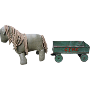REDUCED Toy Oilcloth Handmade Horse & Metal Wagon