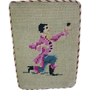 Vintage Needlepoint Door Stop Man with Flowers