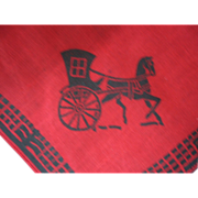 Hand Blocked Hankie with Dickens Type Carriage