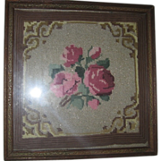 Vintage Needlepoint Framed Floral with Metallic Threads Beauty!!