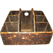 Primitive Wooden Tote Carrier with 8 Compartments Very Unusual!!